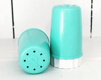 FREE SHIPPING - Mini Turquoise Aqua Salt and Pepper Bullet Shakers