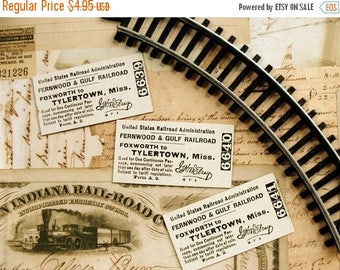 ON SALE Antique Railroad Victorian 1922 United States RailRoad Thick Hardboard Tickets