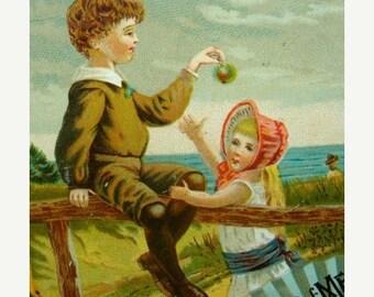 ONSALE Rare Antique 1800s  Litho Stunning Reward of Merit Trade Card N046