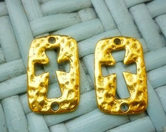 2 Gold Hammered Cross Connectors-Jewelry Cross Connectors 2