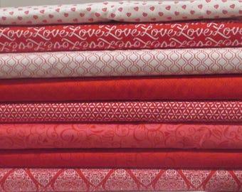 Red Ivory Pink Ever After Half Yard Fabric Bundle - Moda - Deb Strain - Valentines