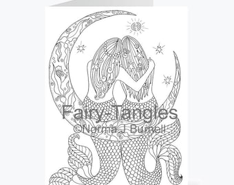 Printable Fairy Tangles Greeting Cards to Color by Norma J Burnell 5x7 Mermaids Moon for Card Making Adult Coloring Mermaids to color