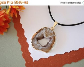 ON SALE Druzy Necklace Gold, Geode Necklace, Crystal Necklace, Gold Geode Slice Druzy,GG28