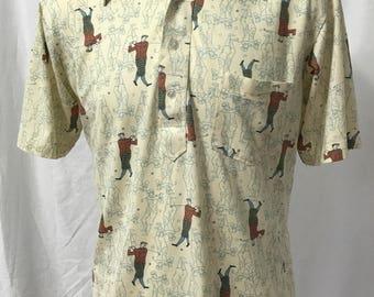 Vintage 60s or 70s Manhattan Novelty Print Retro Golfer Shirt Medium