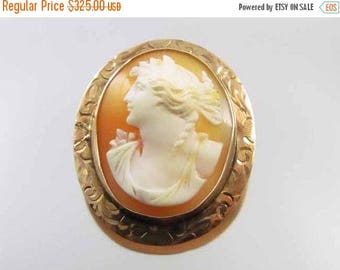 ANNUAL CAMEO SALE Antique Edwardian 10k rose gold  cameo pin brooch pendant signed Keller & Co