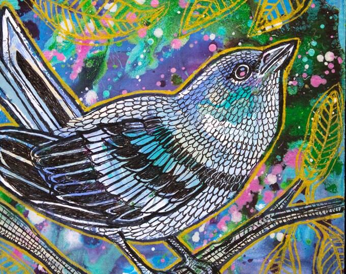 Original Cerulean Warbler Song Bird Art by Lynnette Shelley