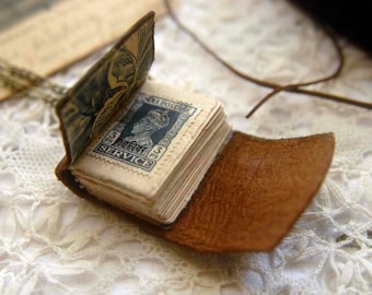 The Little Artist - Mini Vintage Leather Wearable Book, Tea-Stained Fold Out Pages - OOAK