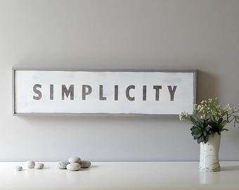 SIMPLICITY Wood Sign, Modern Wall Hanging, 23x6 Inches, Black and White Contemporary Decor, Over Doorway Sign, SevenSisters CS and Serein CS