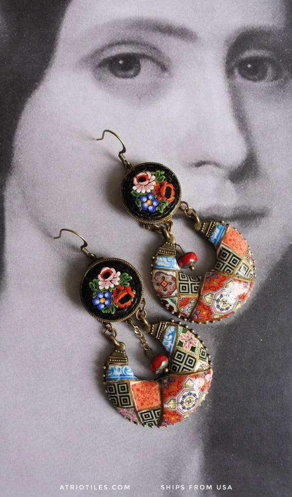Bohemain Earrings Micro Mosaic Portugal Antique Azulejo Tiles Red Black Vintage Italian -  Válega Red  Boho Gypsy OOAK