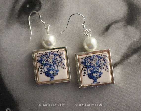 Earrings Portugal  Tile Silver Azulejo  - Church of Mercy Evora Blue Travel History Flowers Frieze Ships from USA  1136