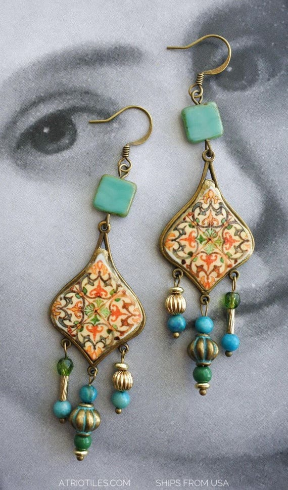 Earrings Chandelier Portugal Tile Azulejo Bohemian Assemblage Antique  from COIMBRA 1590, Se de Coimbra -  Persian Tribal Natural beads