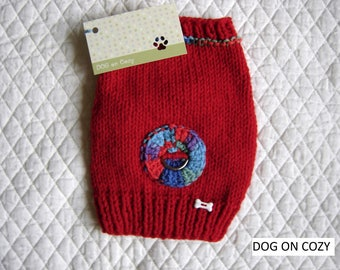Dog Harness Sweater, Hand Knit Pet Sweater, XSMALL, Red