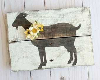 CUSTOM goat sign with felt flowers