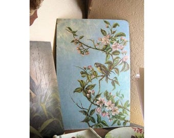 Antique Oil Painting Bird Folk Art Victorian