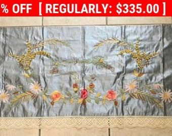 Antique Ribbon Work Valance Silk Embroidery