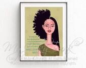 Indecision- African American Art Natural Hair Art Black Woman Art Afro Print