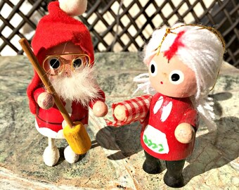 Santa ornaments, Christmas, Ornaments, Vintage, Santa and Mrs Claus, set of 2