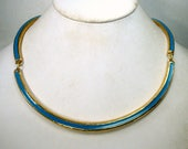 SALE, Minimalist Turquoise on Gold Link Necklace, Simple Enameled Circlet Around Your Throat, Holiday or Everyday, Crisp Line, 1980s Goddess
