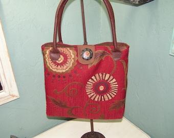 Beautiful Red Tapestry Bag