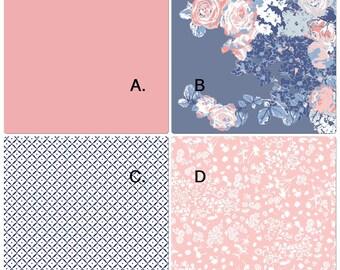 Baby Bedding Crib Set Coral Blush Pink Blue Vintage Floral