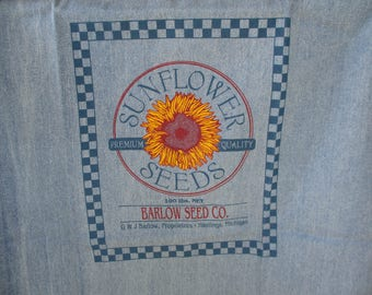 Sunflower denim fabric, feed sack fabric, printed fabric, pillow panel, craft fabric, sewing supplies, fabric supplies, pillow supplies.