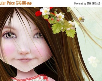 50% Off SALE 5x7 Fine Art Print - 'Annalise Lane' - Little Strawberry Girl - Small Sized Giclee print by Jessica Grundy