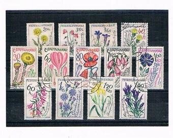 Vintage Botanical Flower Postage Stamps | wild flowers, medicinal flowers - poppy, digitalis, cornflower etc floral postal stamp collection