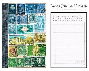 Blue Green Abstract Landscape Journal • Original Stamp Art Collage