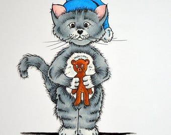 BEDTIME Bear, A4 Matted Print,  Original Illustration Print