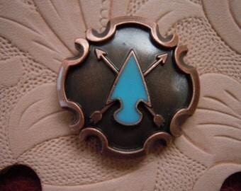Copper Arrowhead Concho With Turquoise Epoxy