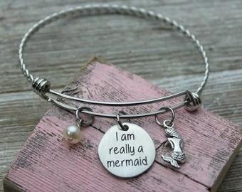 I am really a mermaid Charm Bangle Bracelet