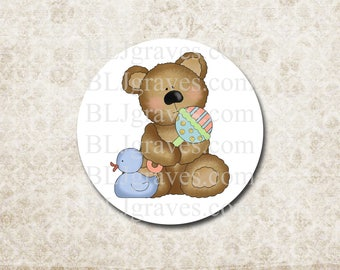 Teddy Bear Baby Shower Stickers Baby Boy Duck Blue Party Favor Treat Bag Stickers SB006