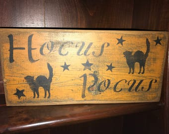 Halloween Primitive Hocus Pocus Wood  Sign