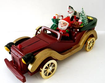 Santa in Stutz Bearcat Auto Delivering Gifts Vintage 1970s Made in Taiwan Plastic Christmas Decor