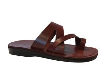 Brown Zing Leather Sandals For Men & Women - Handmade Unisex Sandals, Flip Flop Sandals, Jesus Sandals, Genuine Leather Sandals