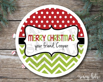 Personalized Dots & Chevron Christmas Stickers, Merry Christmas Tags, Christmas Label
