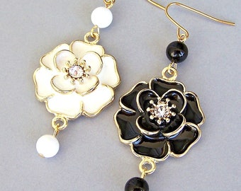 Black and white earrings, mismatched earrings, asymmetrical, large enamel rose flowers, floral design, white and black with gold accents