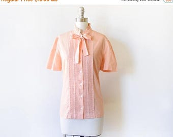 20% OFF SALE vintage peach blouse, 80s polka dot blouse with bow, 1980s short sleeve button up shirt, large l