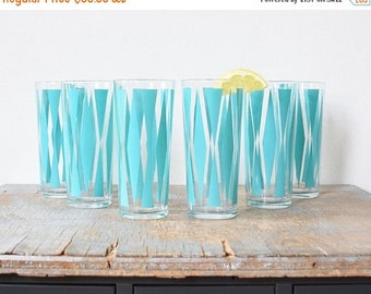 20% OFF SALE mid century turquoise tumblers, vintage 60s atomic glasses, retro diamond drinking glasses, 1960s barware