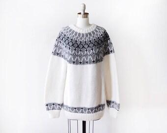 80s fair isle sweater, vintage 1980s sweater, black + white Nordic Scandinavian pullover knit, medium to large