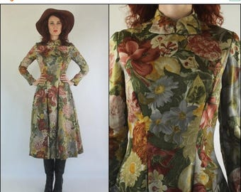 SUMMER SALE 60's  Floral Bow Preppy Rose print Flared Autumn Midi dress S M