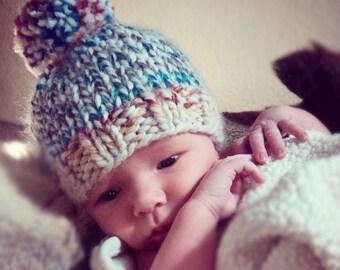 ON SALE Newborn beanie, Knit Hat with pom pom, newborn Knit Hat, pom pom beanie, knit Beanie, baby beanie, beanie with pom pom, custom newbo