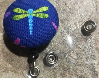 Whimsical badge button holder bright dragonfly design