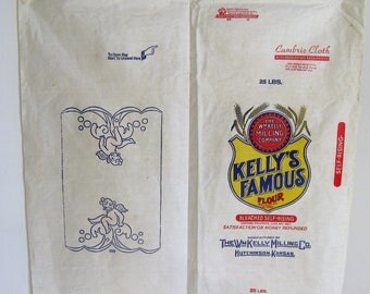Deadstock Cotton Feedsack 30s 40s Vintage, Opened 25 lb Flour Bag Kelly's Famous Flour Hutchinson Ks, Advertising w/ Embroidery Stencil