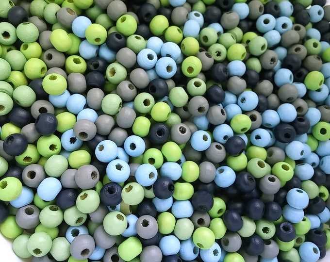 Featured listing image: 6mm Wood beads 200pcs - Mixed blue, green and grey colors beads  (PB216M2)