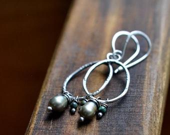 Sterling Silver Turquoise Pearl Earrings, Sterling Silver Earrings, Hand Stamped Dangly Earrings, Boho Earrings