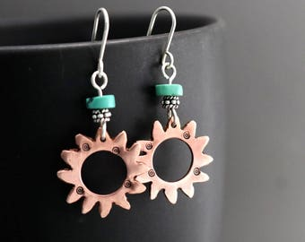 Spiral Copper Sun Earrings, Turquoise Earrings, Sterling Silver Earrings, Dangle Earrings, California Sun Earrings, Artisan Earrings