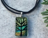 Tree of Life Etching on Salmon Green Shift Dichroic Glass...