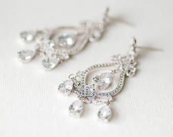 Cubic Zirconia Wedding Earrings, Bridal Earrings, Chandelier Bridal Earrings, Brides Earrings, Wedding Jewelry