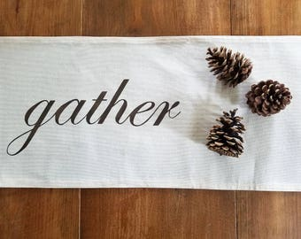 free shipping - gather table runner - thanksgiving - fall home decor - canvas - espresso - jennifer helene home
